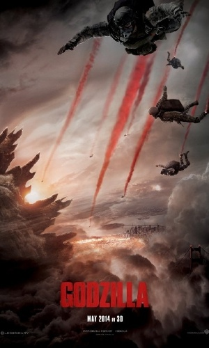 "Pôster de ""Godzilla"", do diretor Gareth Edwards"