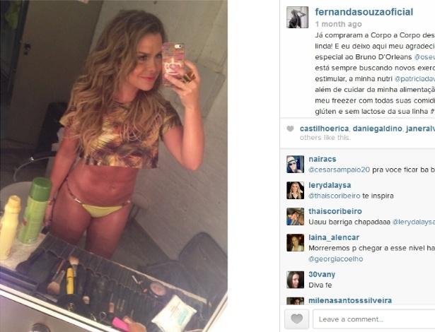 17.jan.2014 - Fernanda Souza mostra o tanquinho no instagram
