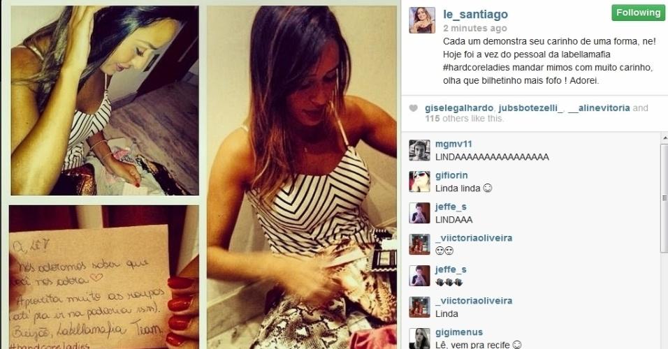 27.fev.2014- Letícia agradece o carinho dos fãs no Instagram: