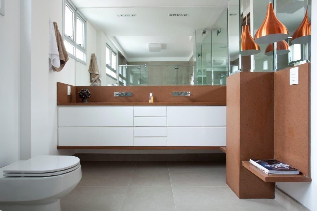 Nesse banheiro o silestone (composto de quartzo resina de poliéster #9C532F 1280x853 Acessórios Banheiro Resina Poliester