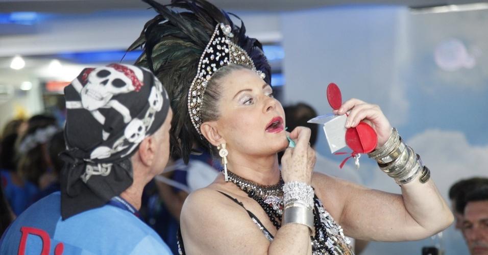 2.mar.2014 - Vera Fischer faz últimos retoques na maquiagem antes de partir para desfile na Sapucaí