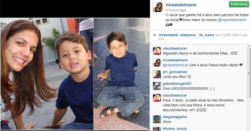 """3.mar.2014 - Nívea Stelmann posa com o filho, Miguel, na calçada da fama. """"O Oscar que ganhei há 9 anos.Meu parceiro de todas as horasAmor maior do mundo @miguelstelmannf """", escreveu a atriz na legenda do clique compartilhado na tarde desta segunda-feira (3), em seu perfil oficial no Instagram"""
