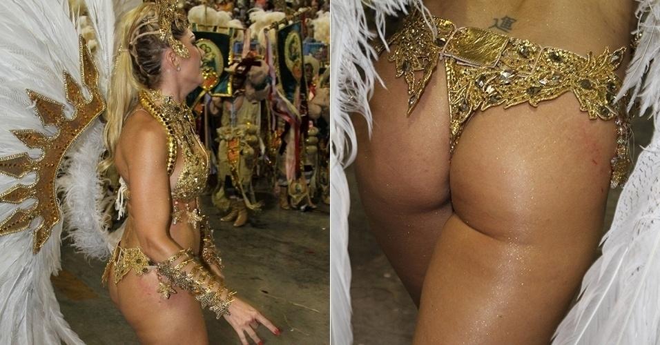 3.mar.2014 - Os adereços da fantasia de Antonia Fontenelle machucaram a pele da atriz durante o desfile da Grande Rio. Foi possível ver algumas marcas vermelhas em seu bumbum e quadril