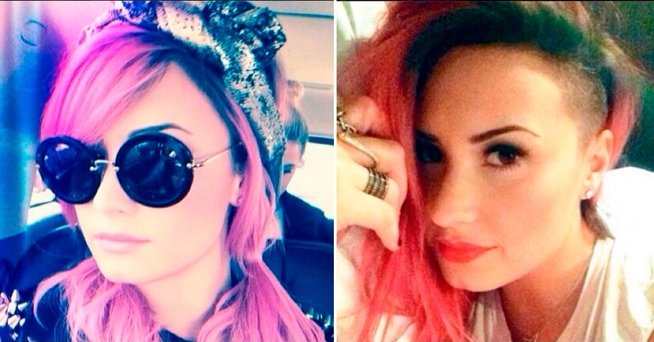 MARÇO - A cantora Demi Lovato aderiu ao corte sidecut, em que apenas uma lateral da cabeça é raspada