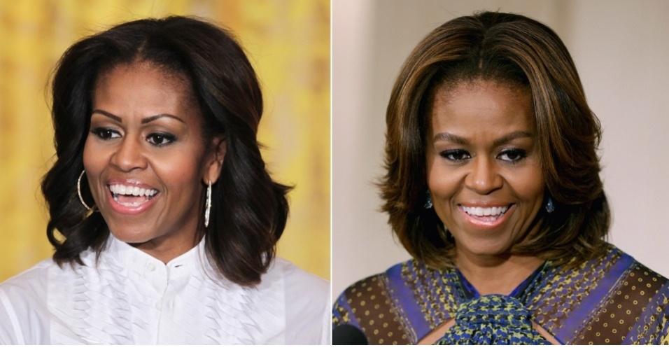 MARÇO - Em evento realizado para mulheres na Casa Branca, a primeira-dama Michelle Obama mostrou seu novo visual oficialmente. Ela agora está usando mechas finas, em toda a extensão do fio, em tom loiro escuro