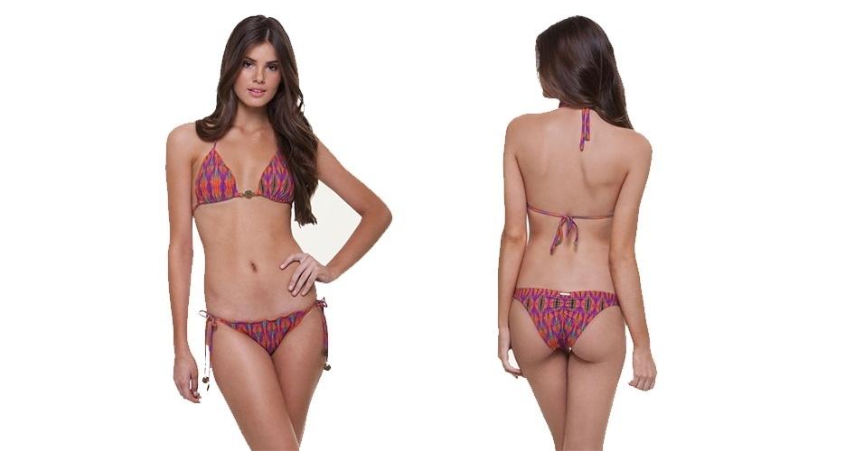 """estampado com top cortininha e calcinha em modelo """"ripple""""; R$ 172, de"""