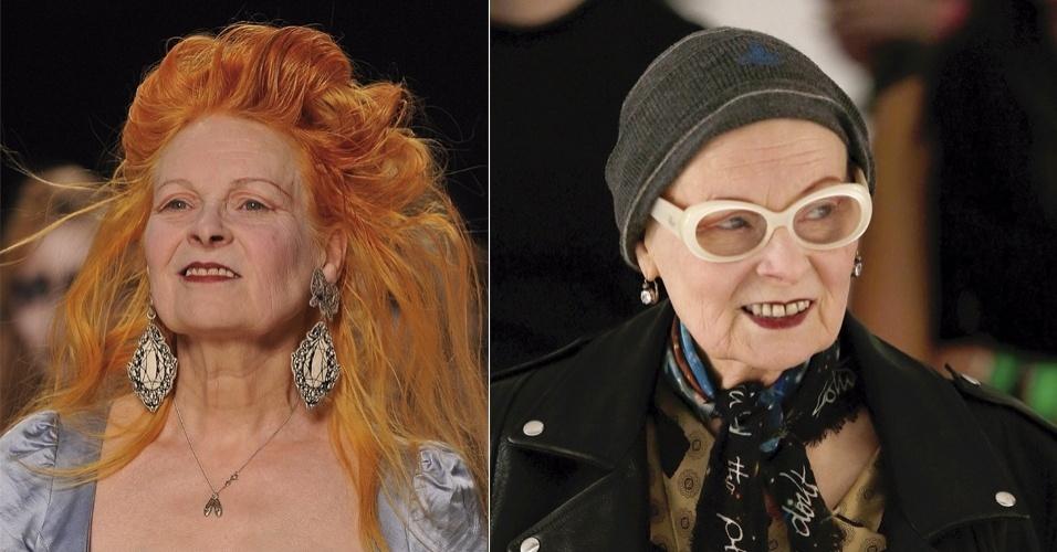 MARÇO - A estilista britânica Vivienne Westwood se desfez de seus marcantes e históricos fios ruivos. No desfile de sua grife durante a semana de moda de Paris, ela apareceu com gorro mas confirmou a mudança: agora exibe os fios brancos naturais bem curtos