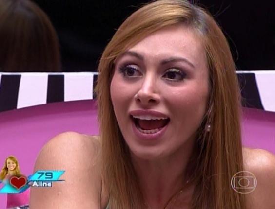 11.mar.2014 - Pedro Bial faz o primeiro contato da noite com os dois emparedados, Aline e Marcelo