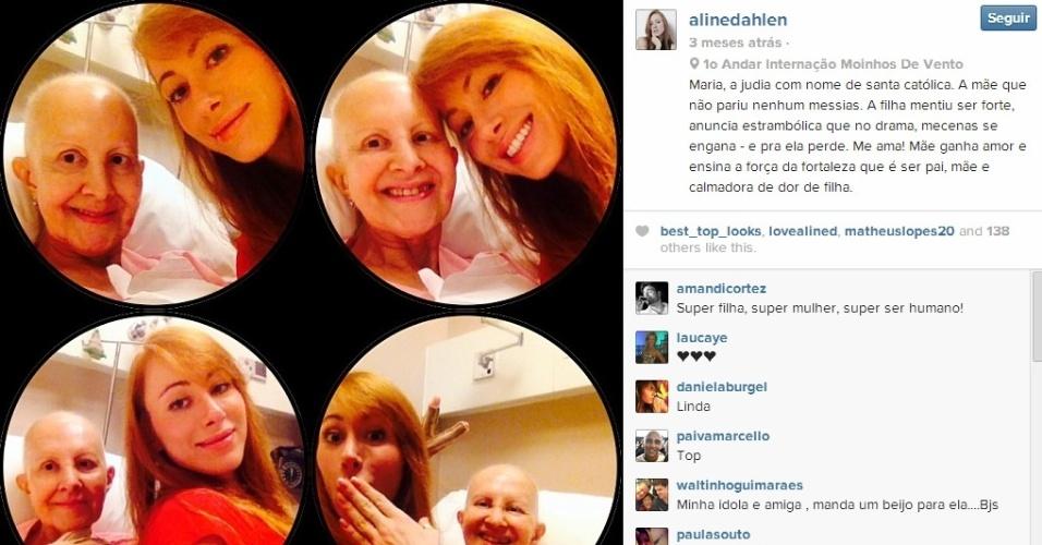 Em 25 de dezembro, Aline postou imagens com a mãe no hospital. Maria Ledi luta contra o câncer há sete anos, segundo a irmã