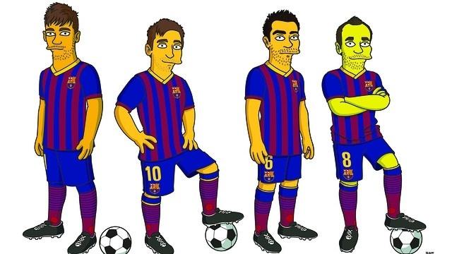 12.mar.2014 - Neymar, Messi, Xavi e Iniesta viram personagem de