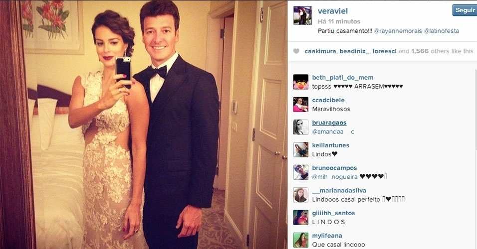 12.mar.2014 - Vera Viel divulgou no Instagram a foto com o marido, Rodrigo Faro, prontos para a cerimônia de Latino e Rayanne Morais, no Copacabana Palace, no Rio de Janeiro. O casal é um dos padrinhos