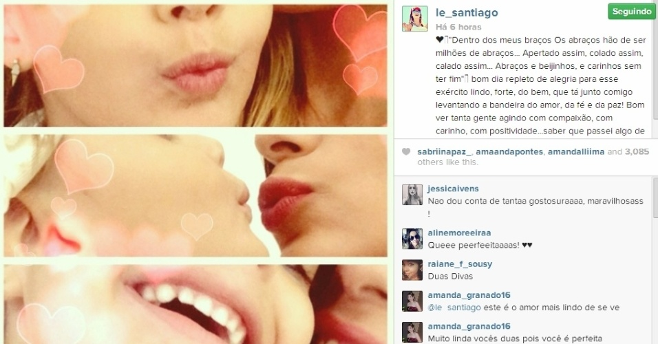 13.mar.2014 - Letícia publica foto ao lado da filha e se declara:
