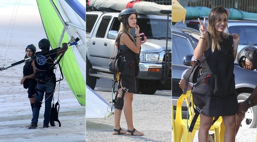 14.mar.2014 - A ex-BBB Letícia saltou de asa-delta na praia do Pepino, em São Conrado, zona sul do Rio