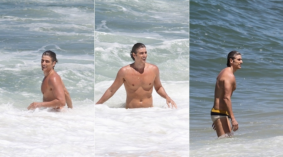 15.mar.2014 - Reynaldo Gianecchini curtiu o mar da praia da Macumba, zona oeste do Rio. Antes, o ator gravou cenas de