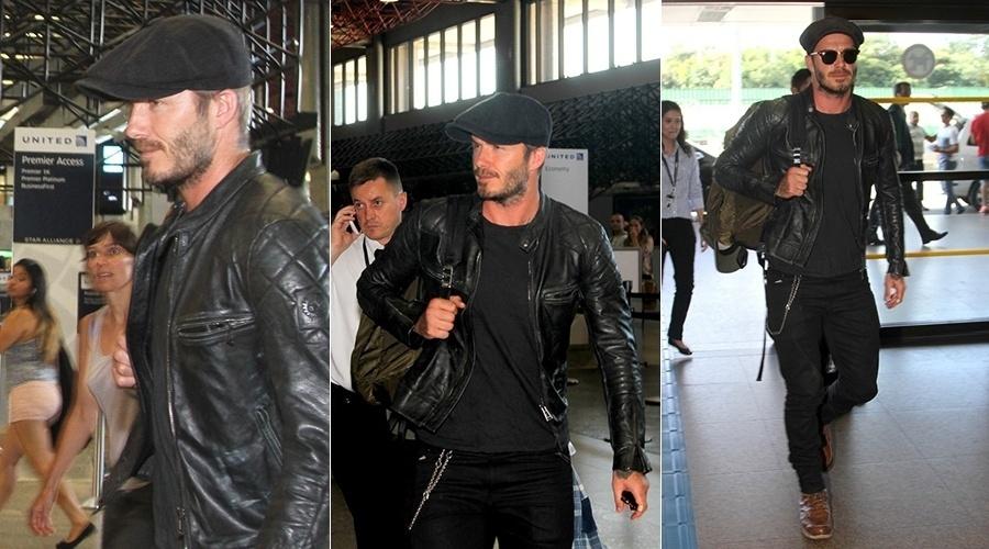 17.mar.2014 - David Beckham circulou pelo aeroporto de Guarulhos, em São Paulo. O ex-jogador embarcou de volta para Londres. Beckham esteve no Brasil para gravar comercial de moto do qual é garoto propaganda