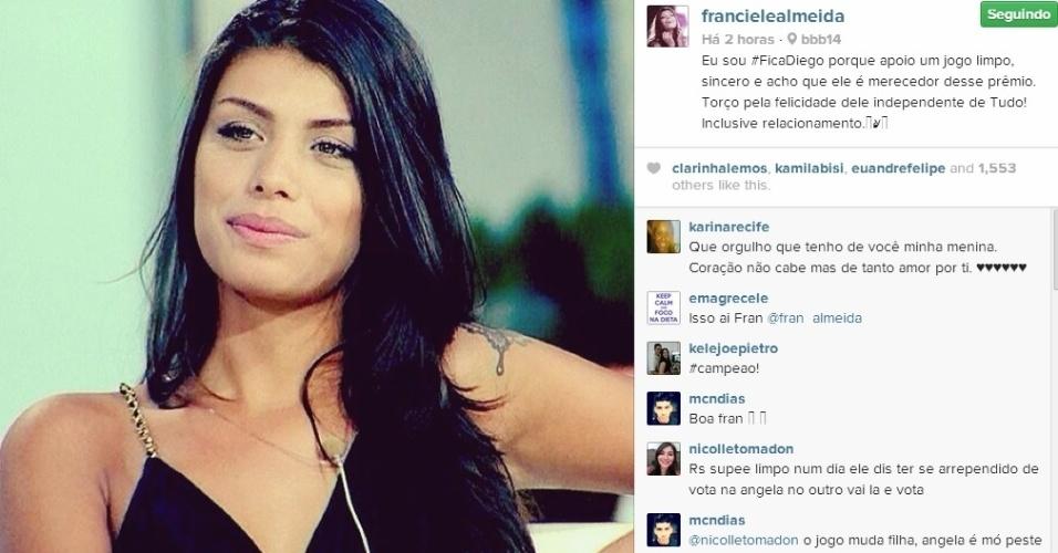 17.mar.2014 - Eliminada, Franciele defende permanência de Diego na casa. O brother enfrenta o seu quinto paredão no