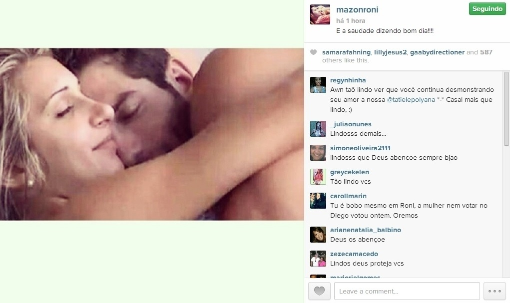 17.mar.2014 - Roni posta foto abraçado com Tatiele em sua página do Instagram e diz: