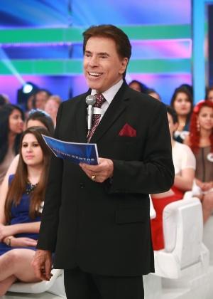 """Silvio Santos durante gravação do """"Programa Silvio Santos"""""""