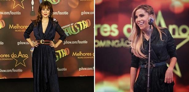 Paolla Oliveira e Anitta usam vestidos quase idênticos no prêmio