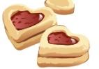 Em formato de cora��o, biscoitinho com recheio de geleia � receita f�cil