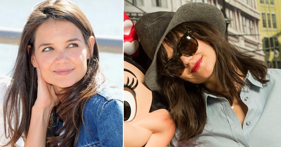 MARÇO - A atriz Kate Holmes posou ao lado da personagem Minnie Mouse em um parque temático mostrando o novo visual. O corte reto está na altura dos ombros e a a franja, também reta, na linha da sobrancelha