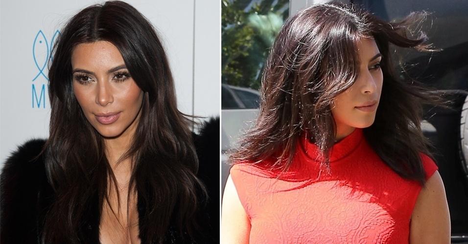 MARÇO - Em passeio com o noivo, Kanye West, a socialite Kim Kardashian foi flagrada com o novo visual, agora com fios mais curtos na altura dos ombros