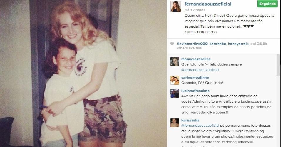 19.mar.2014 - Fernanda Souza comemora a escolha de Angélica como sua madrinha de casamento