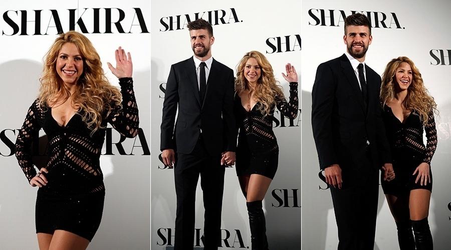 20.mar.2014 - Acompanhada do marido, o jogador de futebol Gerard Piqué, Shakira promoveu seu novo álbum,