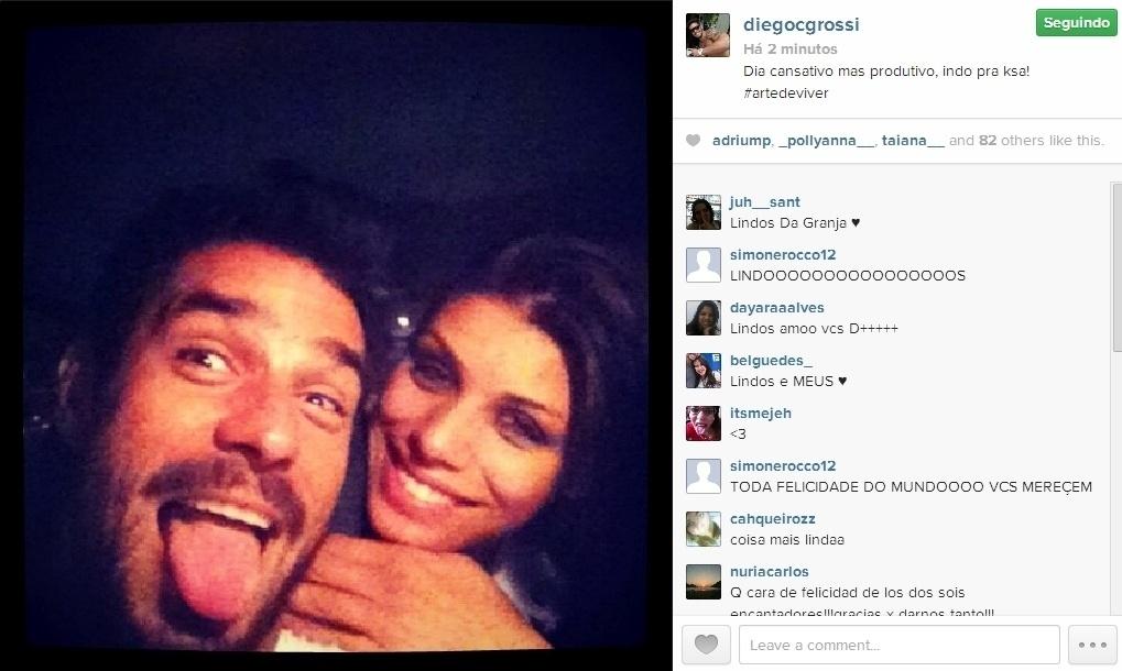 21.mar.2014 - Diego posta foto abraçado com Franciele: