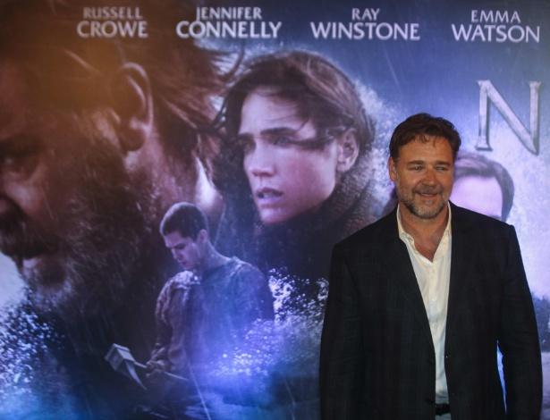 "21.mar.2014 - Russell Crowe participa de coletiva de imprensa para divulgar ""Noé"", de Darren Aronofsky"