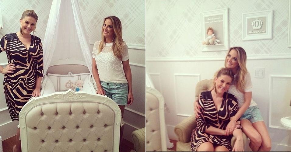 21.mar.2014 - Ticiane Pinheiro visita Ana Hickmann e mostra o quarto do bebê da apresentadora
