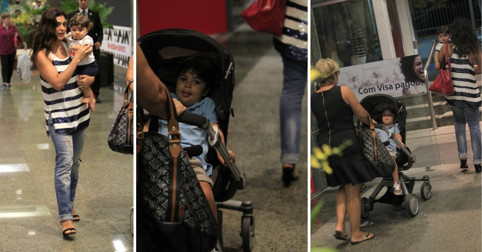 22.mar.2014 - Juliana Paes passeia com os filhos e a mãe no Rio. A atriz foi clicada na companhia de dona Regina Paes e os seus pequenos, Pedro, de 3 anos, e Antonio, de 8 meses, em um shopping da Zona Oeste carioca, na noite deste sábado (22)