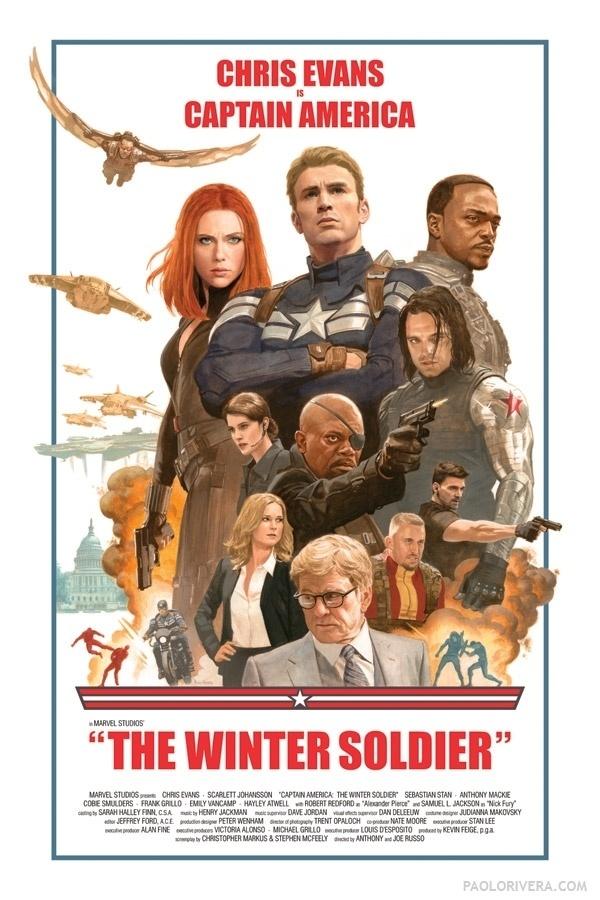 """Poster retrô de """"Capitão América 2 - O Soldado Invernal"""", Steve Rogers (Chris Evans)"""