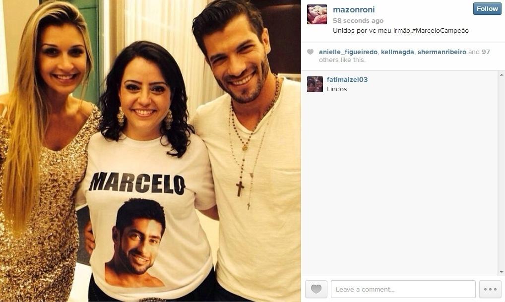 26.mar.2014 - Depois de encontrar a família de Marcelo, Roni postou foto com uma das irmãs do brother e Tatiele.