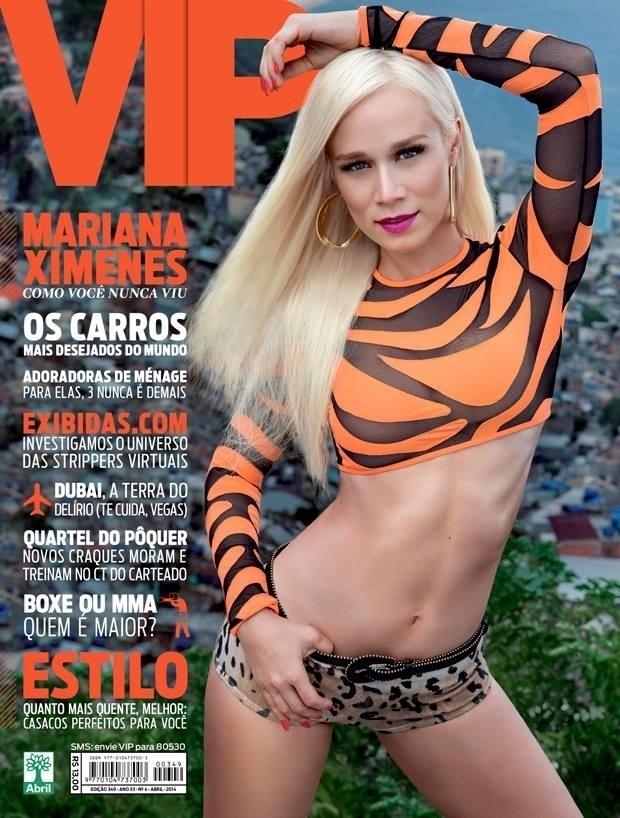 """26.mar.2014 - Revista """"VIP"""" divulga capa de abril, estrelada por Mariana Ximenes. De barriga de fora, a atriz posou no morro do Vidigal, no Rio de Janeiro"""