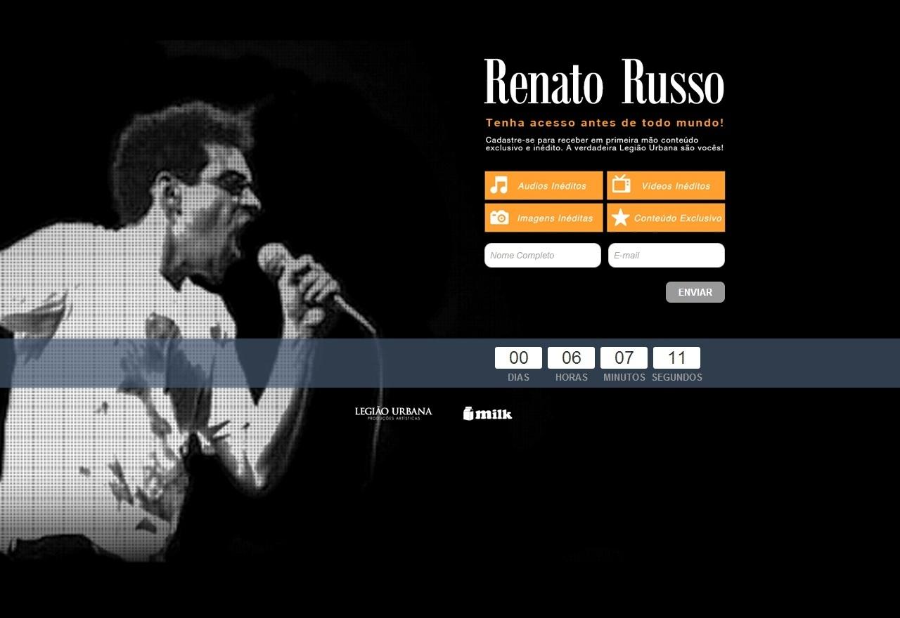 Imagem do site oficial dedicado a Renato Russo, antes da inauguração