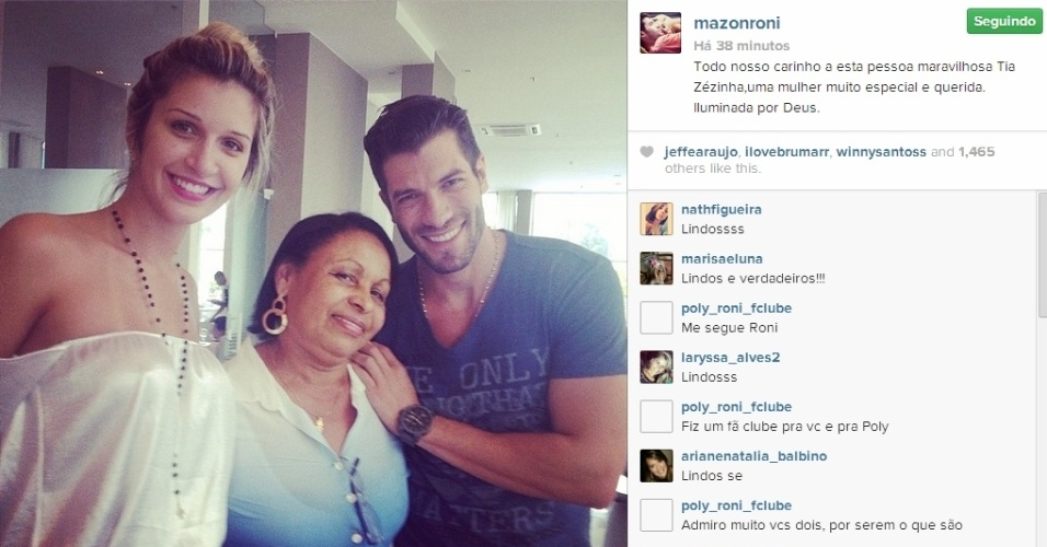 27.mar.2014 - Roni publica foto ao lado de Tatiele e tia de Valter: