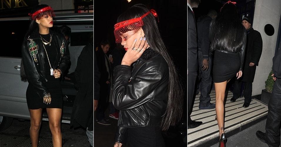 27.mar.2014 - Rihanna é vista chegando à boate Tramps, em Londres, pela segunda noite seguida, mas desta vez sem a companhia de Drake. O cantor estava em outra balada, em West End