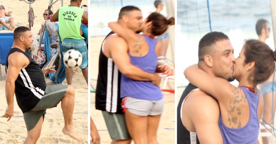 29.mar.2014 - Ronaldo ganha beijão da noiva após partida de futevôlei no Rio. O ex-craque foi clicado com a DJ Paula Morais na tarde deste sábado (29), no Leblon