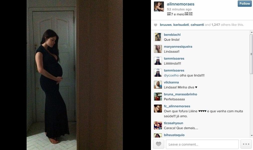 31.mar.2014 - Alinne Moraes divulgou foto onde aparece grávida