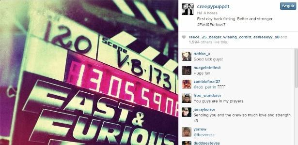 """O diretor James Wan publicou no Instagram imagem da claquete de """"Velozes & Furiosos 7"""", que voltou a ser filmado nesta segunda"""