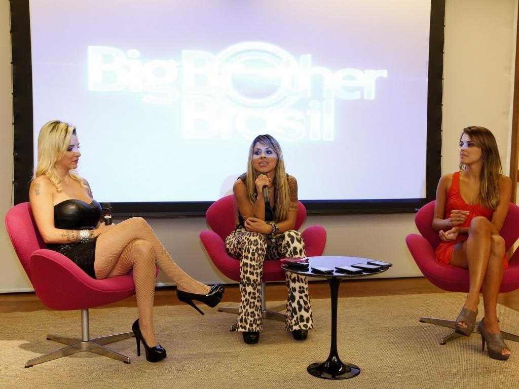 1.abr.2014 - Finalista, Clara, Angela e Vanessa participam da coletiva de imprensa no Projac, central de estúdios da TV Globo