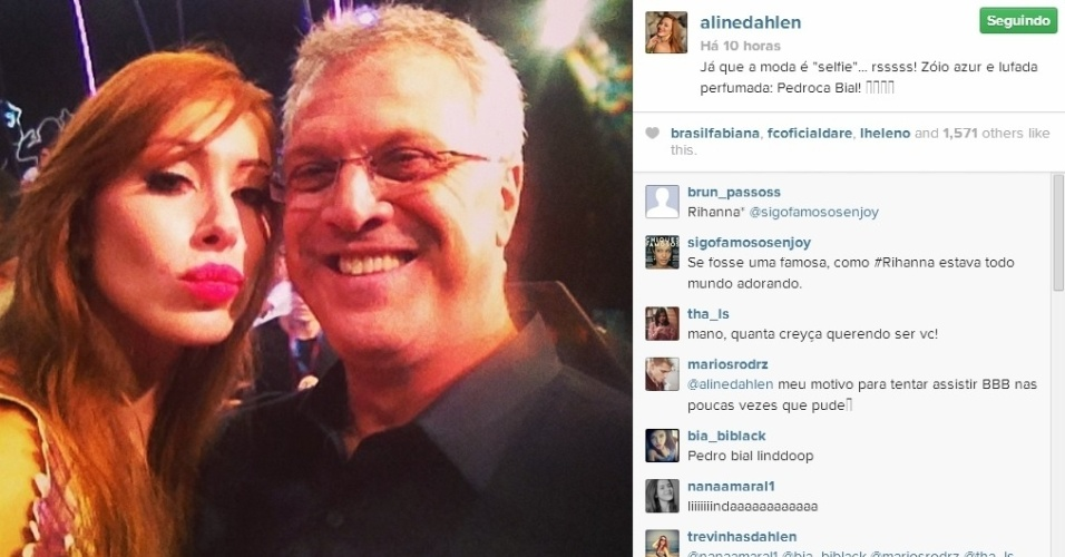 1.abr.2014 - Na final do programa, Aline aproveitou para tietar o apresentador Pedro Bial.