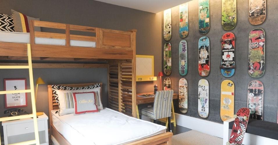 As arquitetas Ana Paula Seabra e Suzana Fonseca, do escritório SIB Fonseca, criaram este quarto para a Mostra Quartos & Etc. para meninos que gostam esportes radicais e não querem mais um dormitório com