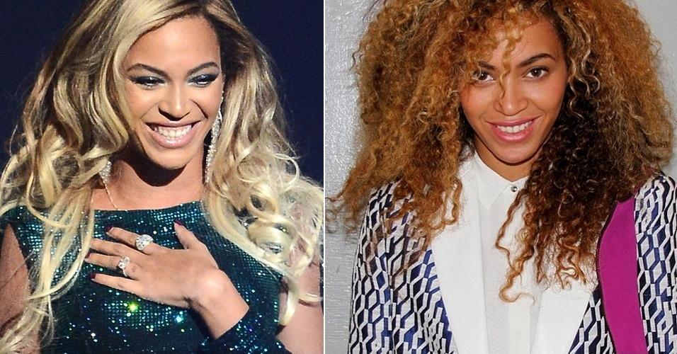 4.abr.2014 - A cantora Beyoncé postou em sua página oficial no Instagram a foto de seu novo look: cabelos totalmente crespos, armados e mais escuros do que vinha usando. Alguns seguidores suspeitaram e comentaram que o look pode ser uma peruca, mas a cantora não confirmou a informação