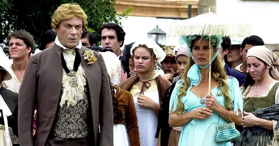 2002 - José Wilker e Bruna Lombardi em cena da minissérie