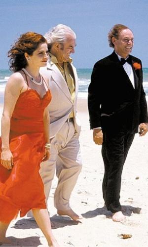 2005 - Os atores Drica Moraes, Juca de Oliveira e Zé Wilker, gravam cena do filme