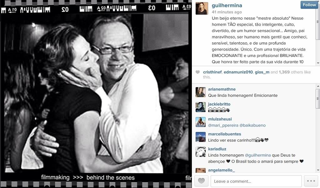5.abril.2014 - Guilhermina Guinle homenageia José Wilker na web