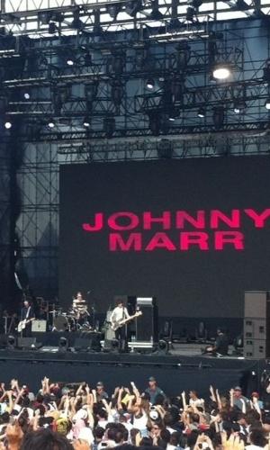 6.abr.2014 - Johnny Marr se apresenta no segundo dia do Lollapalooza 2014, em São Paulo