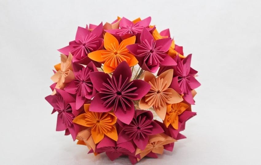 - Buquê de flor de cerejeira em origami